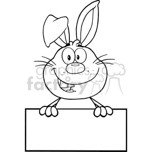 Dumbbell on back clipart black and white printable vector library Royalty Free RF Clipart Illustration Black And White Cute Rabbit Cartoon  Mascot Character Over Blank Sign clipart. Royalty-free clipart # 390221 vector library