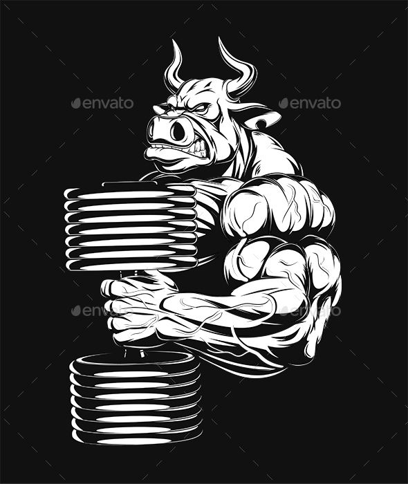 Dumbbell on back clipart black and white printable png royalty free library Ferocious Bull with Dumbbells | Bulls in 2019 | Rhino tattoo, Gym ... png royalty free library