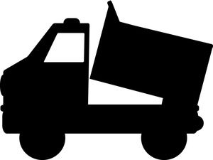 Dump truck clipart dumping black and white clip transparent download Dump Truck Clipart Image: Black and white dump truck lifting its ... clip transparent download