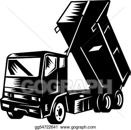 Dump truck clipart dumping black and white banner library Clipart - Dump truck isolated on white. Stock Illustration ... banner library