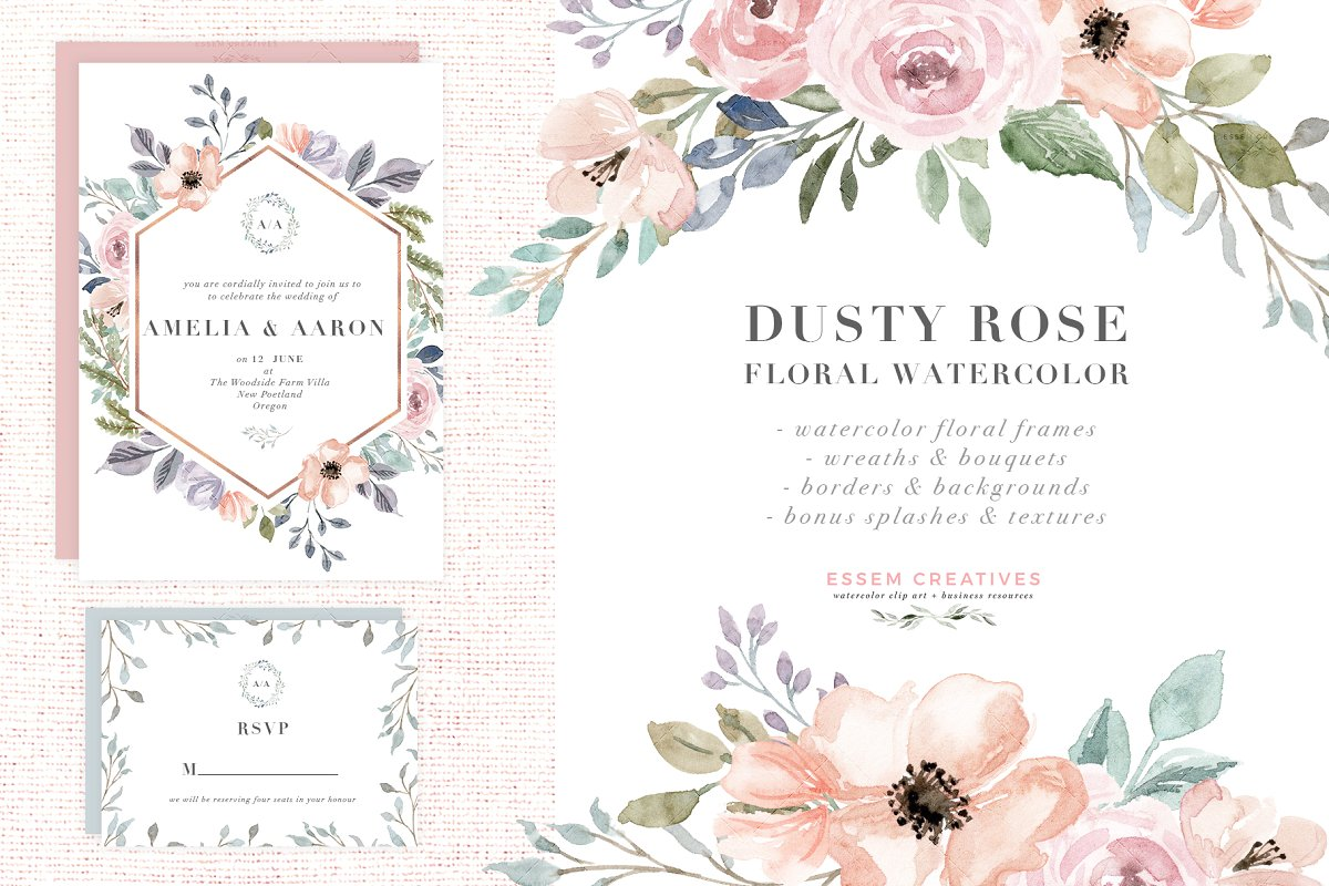 Dusty rose colored flower free clipart boarder picture Dusty Rose Watercolor Flower Clipart ~ Illustrations ~ Creative Market picture