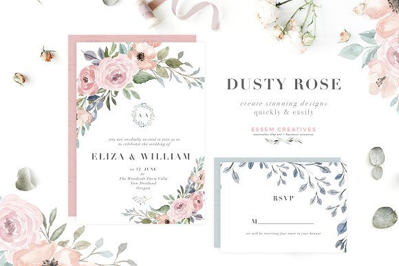 Dusty rose colored flower free clipart boarder clip art transparent stock Dusty Rose Watercolor Flower Clipart clip art transparent stock
