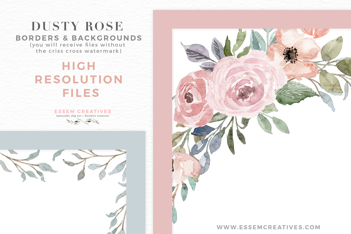 Dusty rose colored flower free clipart boarder clip art free Dusty Rose Watercolor Floral Card Borders Backgrounds PNG JPEG clip art free