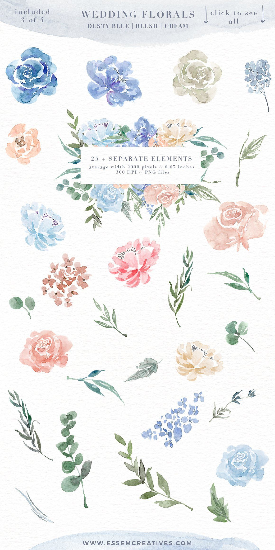 Dusty rose colored flower free clipart boarder download Wedding Watercolor Flowers Graphics Clipart, Dusty Blue Blush Pink ... download