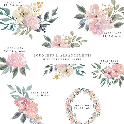 Dusty rose colored flower free clipart boarder clip art download Neutral Watercolor Flowers Clipart, Floral Borders & Frames for Wedding clip art download