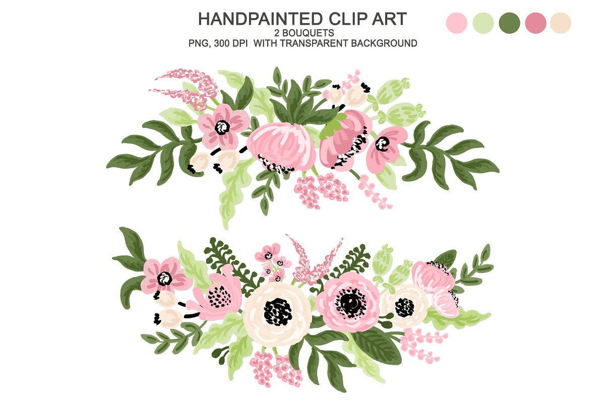 Graphic clipart images clipart black and white download Digital Watercolor Flower Clipart clipart black and white download
