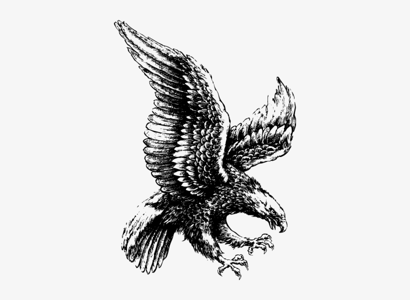 Eagle flying in clouds clipart black and white png library download Black And White Flying Eagle Tattoo Design - Architecture Concept ... png library download