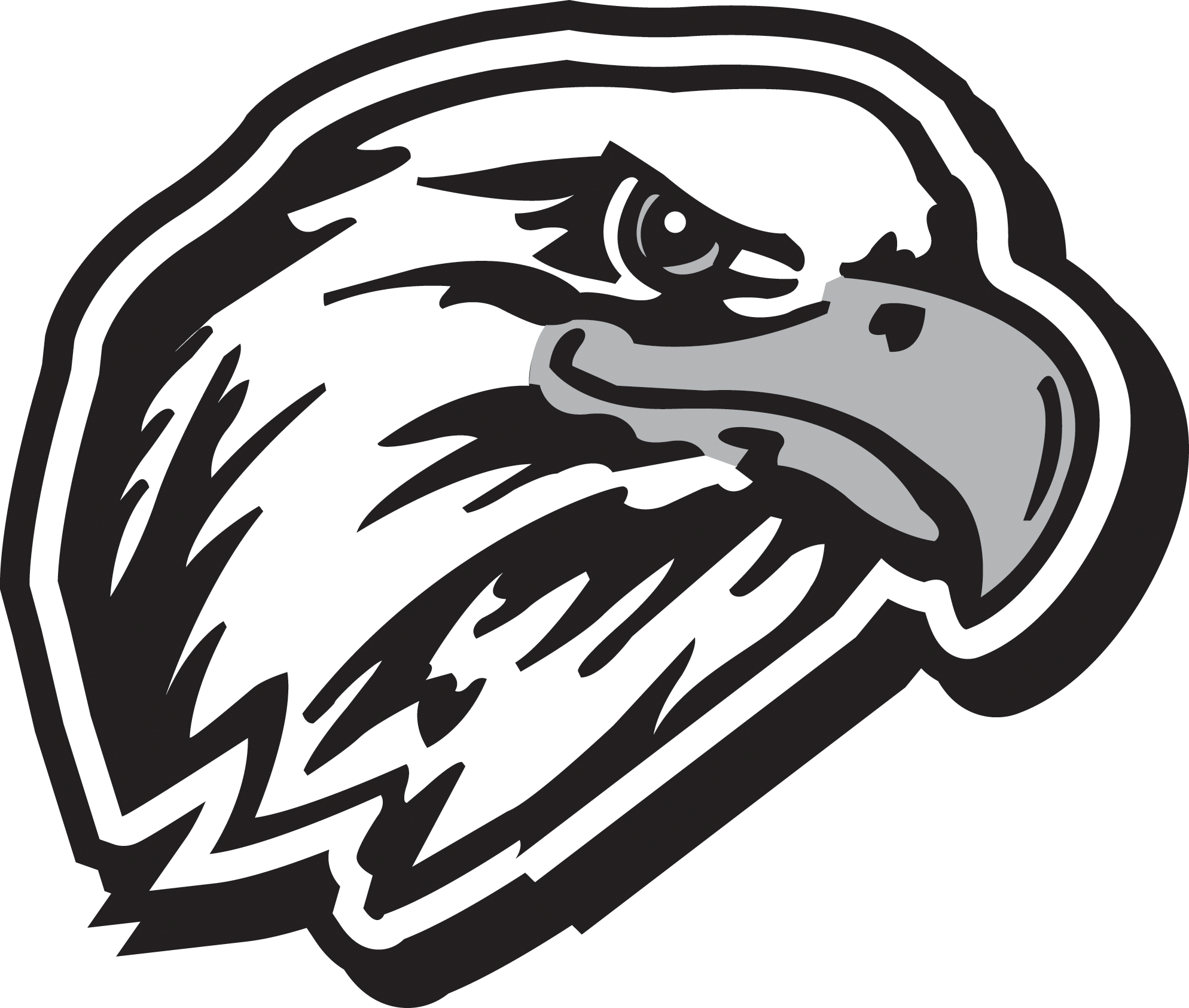 Eagles logo drawing at. Eagle with football clipart