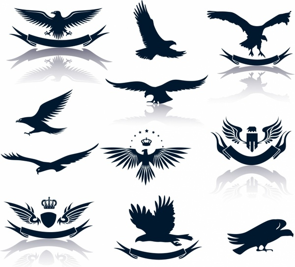 Eagle silhouette clipart free png royalty free download Set of eagles silhouettes Free vector in Adobe Illustrator ai ( .AI ... png royalty free download