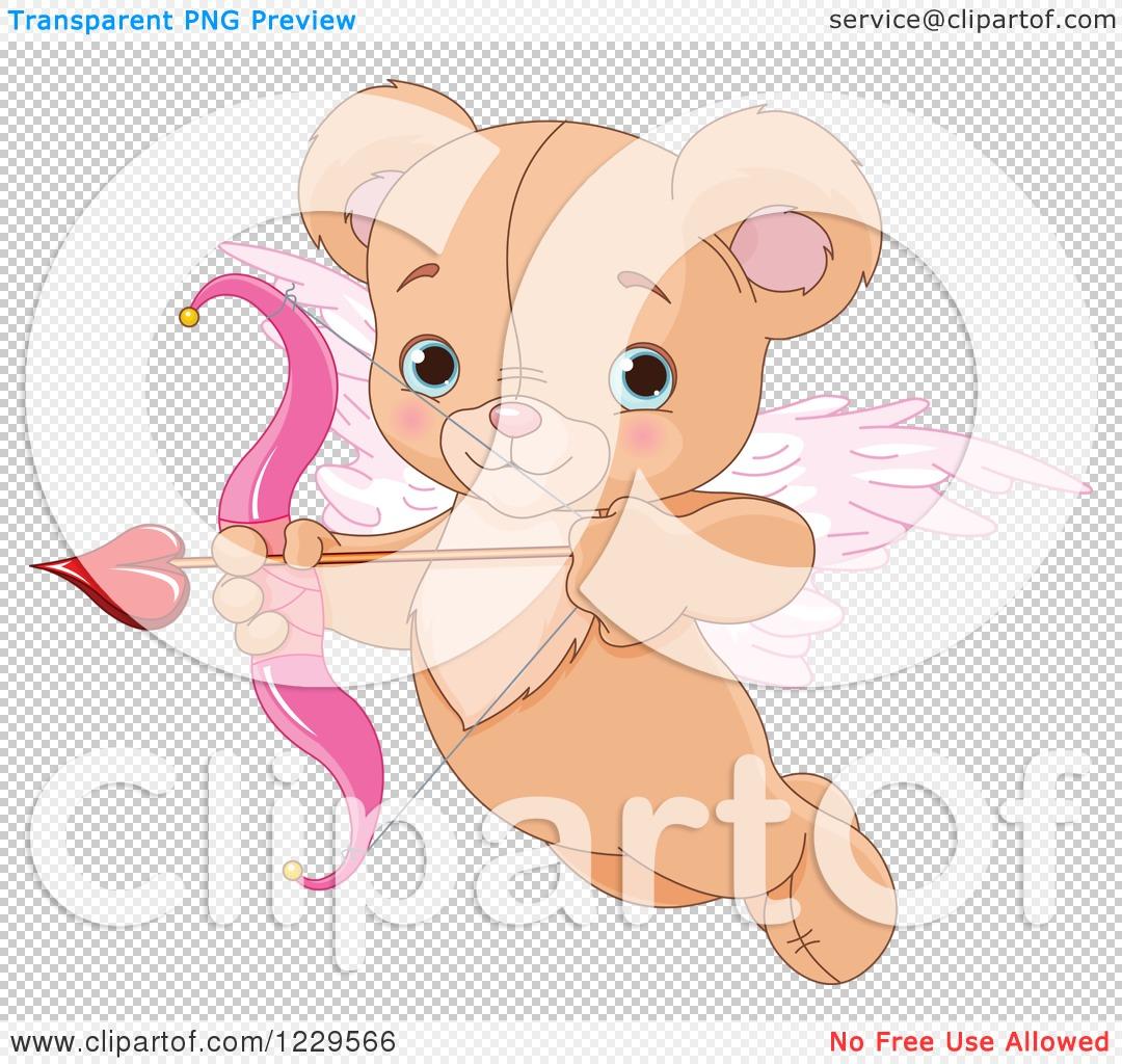 Ear clipart with arrow clipart freeuse stock Clipart of a Cute Flying Teddy Bear Cupid Aiming an Arrow ... clipart freeuse stock