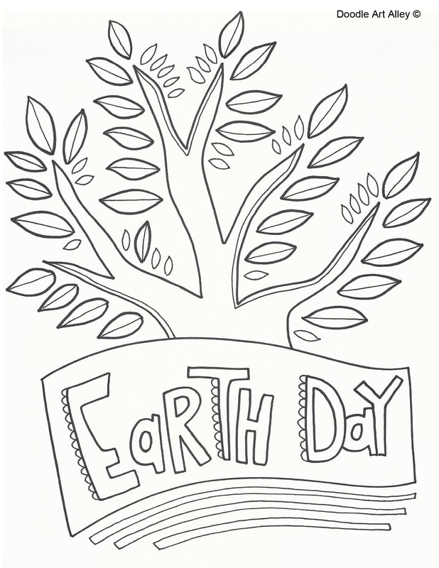Earth day coloring pages clipart vector free library Earth Day Coloring Pages - Doodle Art Alley vector free library