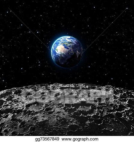 Earth from the moon clipart graphic royalty free library Drawing - Views of earth from the moon . Clipart Drawing gg73567849 ... graphic royalty free library