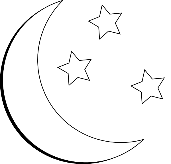 Free black and white clipart book cover with and half moon and stars on the outside of a bbook graphic free The fantasy author J. R. R. Tolkien of Middle-earth fame included ... graphic free