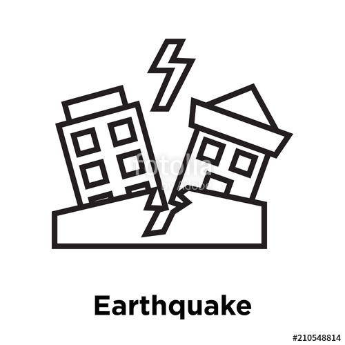 Earthquake clipart black and white clipart black and white stock Earthquake icon vector sign and symbol isolated on white background ... clipart black and white stock