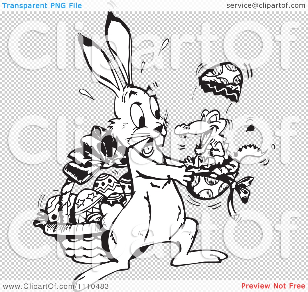 Easter alligator clipart png library library Clipart Black And White Easter Bunny Holding A Crocodile Hatching ... png library library
