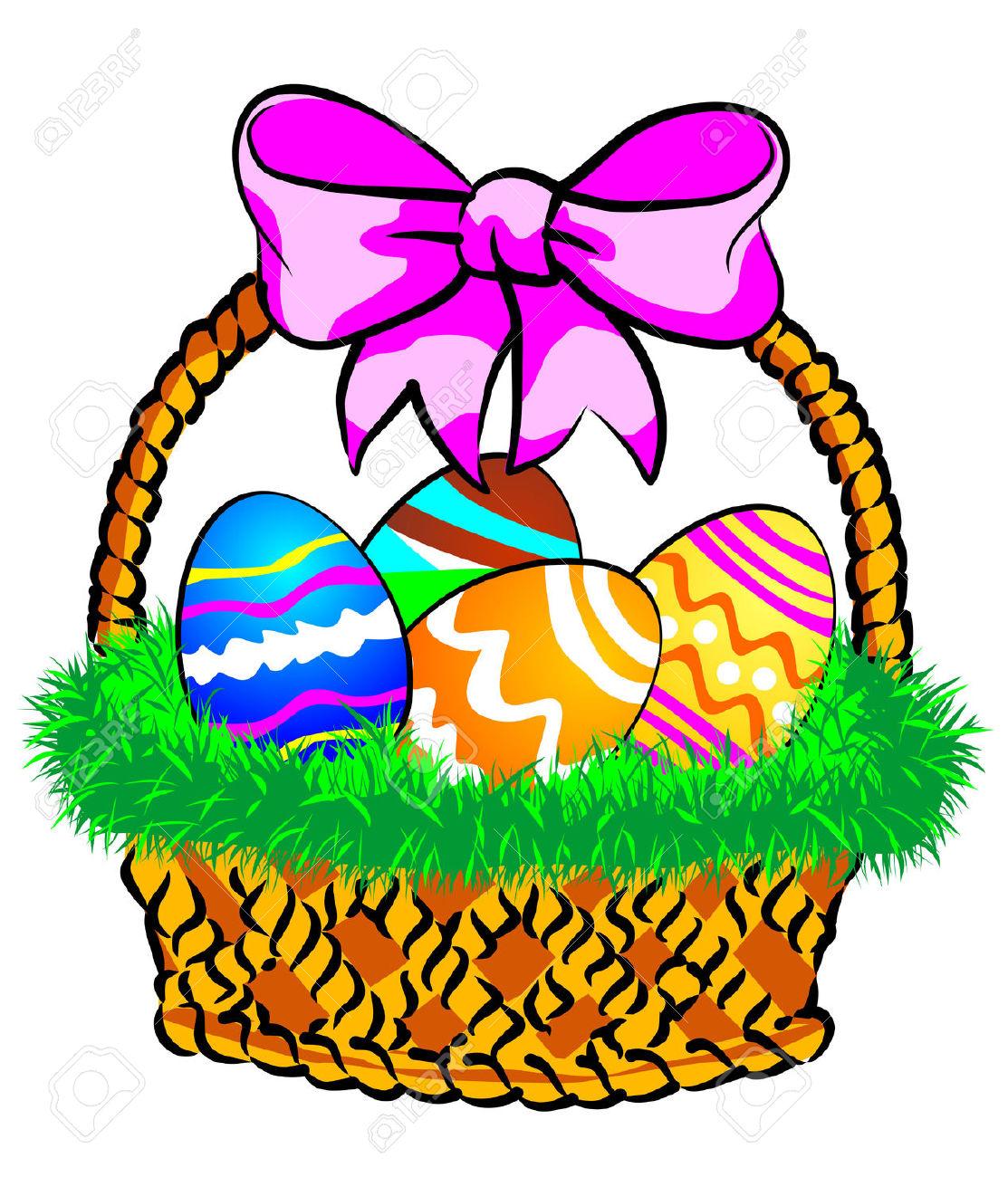 Easter basket clip art clip black and white library Easter basket grass clipart - ClipartFest clip black and white library