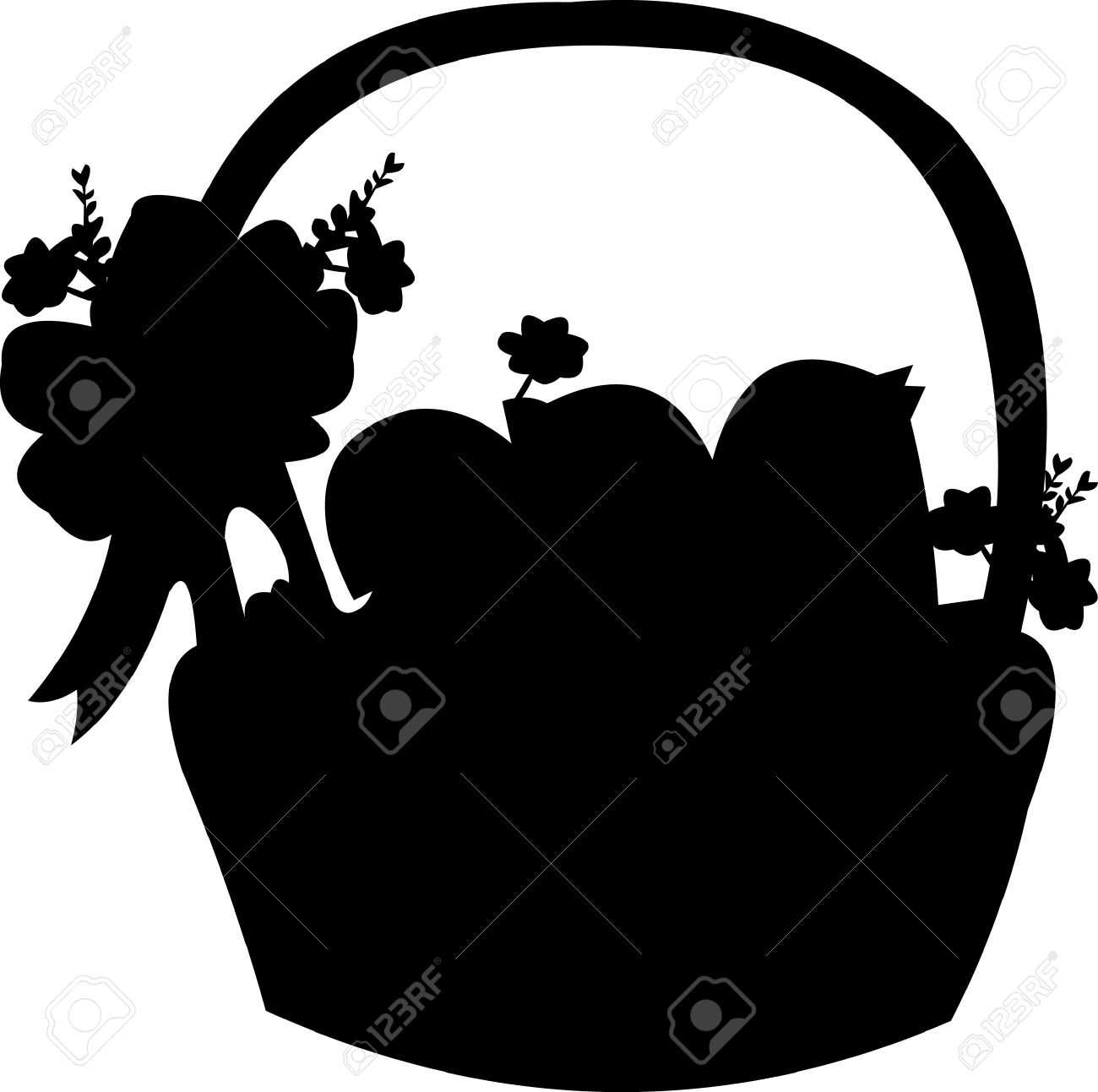 Easter basket silhouette clipart