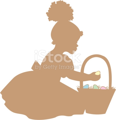 Easter basket silhouette clipart clip art library download African American Girl With Easter Basket Silhouette stock vector ... clip art library download