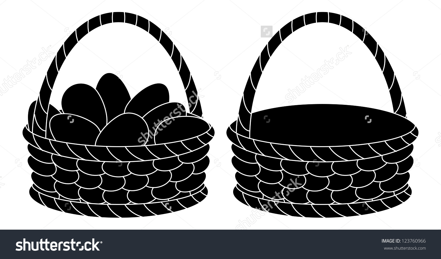 Easter basket silhouette clipart vector free Wattled Easter Baskets Empty Chicken Eggs Stock Vector 123760966 ... vector free