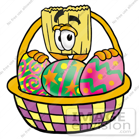 Easter basket straw clipart image free stock Clip Art Graphic of a Straw Broom Cartoon Character in an Easter ... image free stock