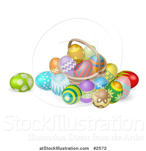 Easter basket straw clipart png royalty free Vector Illustration of a 3d Straw Easter Basket with Eggs by ... png royalty free
