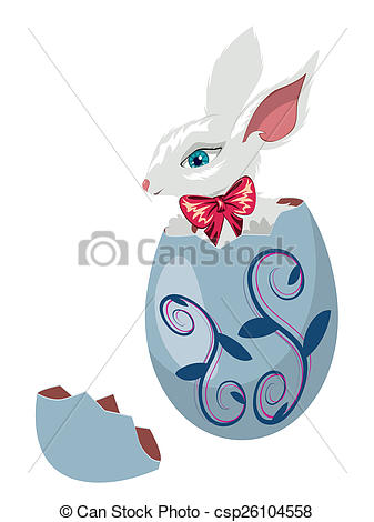 Easter bunny clipart with cracked egg svg transparent stock Stock Illustrations of Bunny Inside a Cracked Egg - Cute Easter ... svg transparent stock