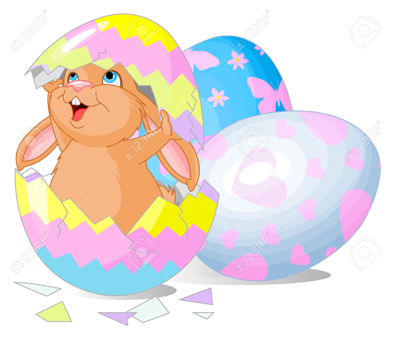 Easter bunny clipart with cracked egg picture library Easter Bunny Jumping Out From Broken Egg Royalty Free Cliparts ... picture library