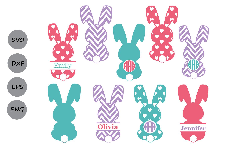 Easter bunny ears clipart black and white cricut jpg royalty free stock Easter Bunny Monogram| Easter SVG Cut Files jpg royalty free stock