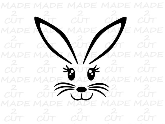 Easter bunny ears clipart black and white cricut free download Easter Bunny SVG - Bunny Face Studio File - SVG Bunny - Easter Bunny ... free download