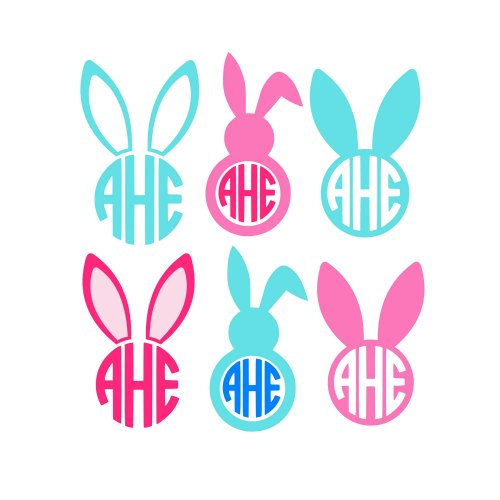 Easter bunny ears clipart black and white cricut jpg free download Easter Bunny Svg, Easter Bunny Monogram Svg, Circle Monogram Frames ... jpg free download