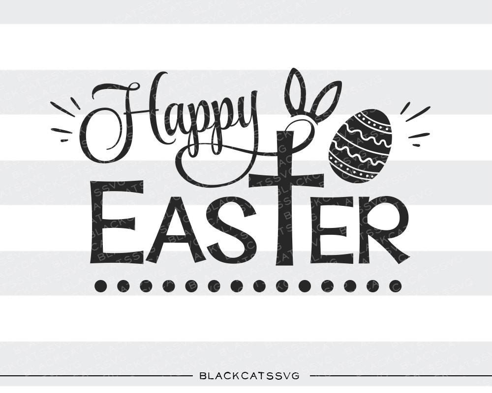 Easter bunny ears clipart black and white cricut clip Happy Easter SVG cross and bunny ears file Cutting File Clipart in Svg,  Eps, Dxf, Png for Cricut & Silhouette clip