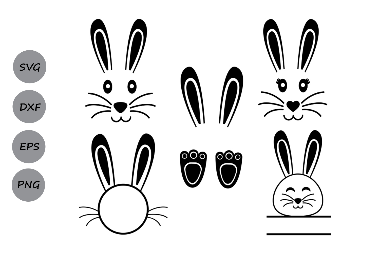Easter bunny ears clipart black and white cricut svg library download Easter Bunny Monogram SVG Set 3 svg library download