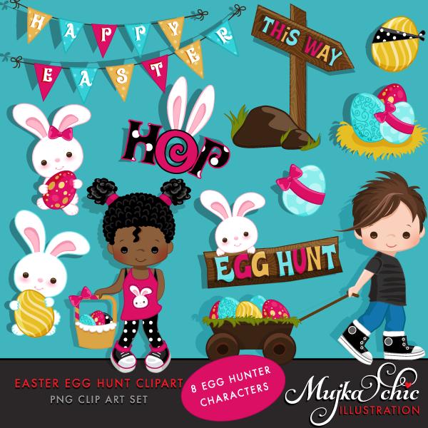 Easter bunny hunt clipart banner transparent stock Easter Egg Hunt Clipart banner transparent stock