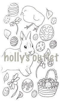 Easter clipart coloring pages vector transparent Easter Clipart // Seasons, Easter Holiday, Sunday, Clipart, Coloring Page,  Print vector transparent