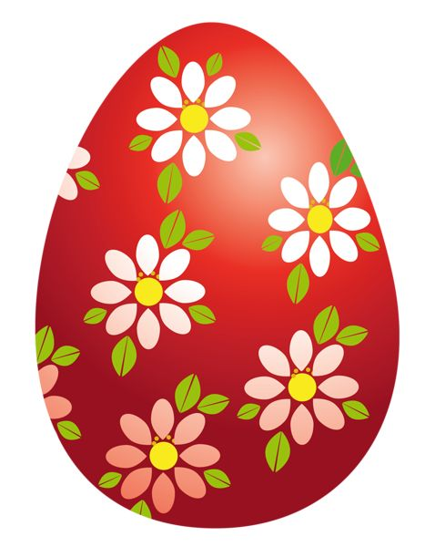 Easter clipart flower png clip Easter Red Egg with Flowers PNG Clipart Picture | Egg ไข่ ... clip