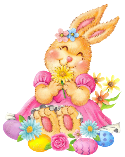 Easter clipart flower png jpg transparent Easter Bunny with Eggs and Flowers PNG Clipart jpg transparent