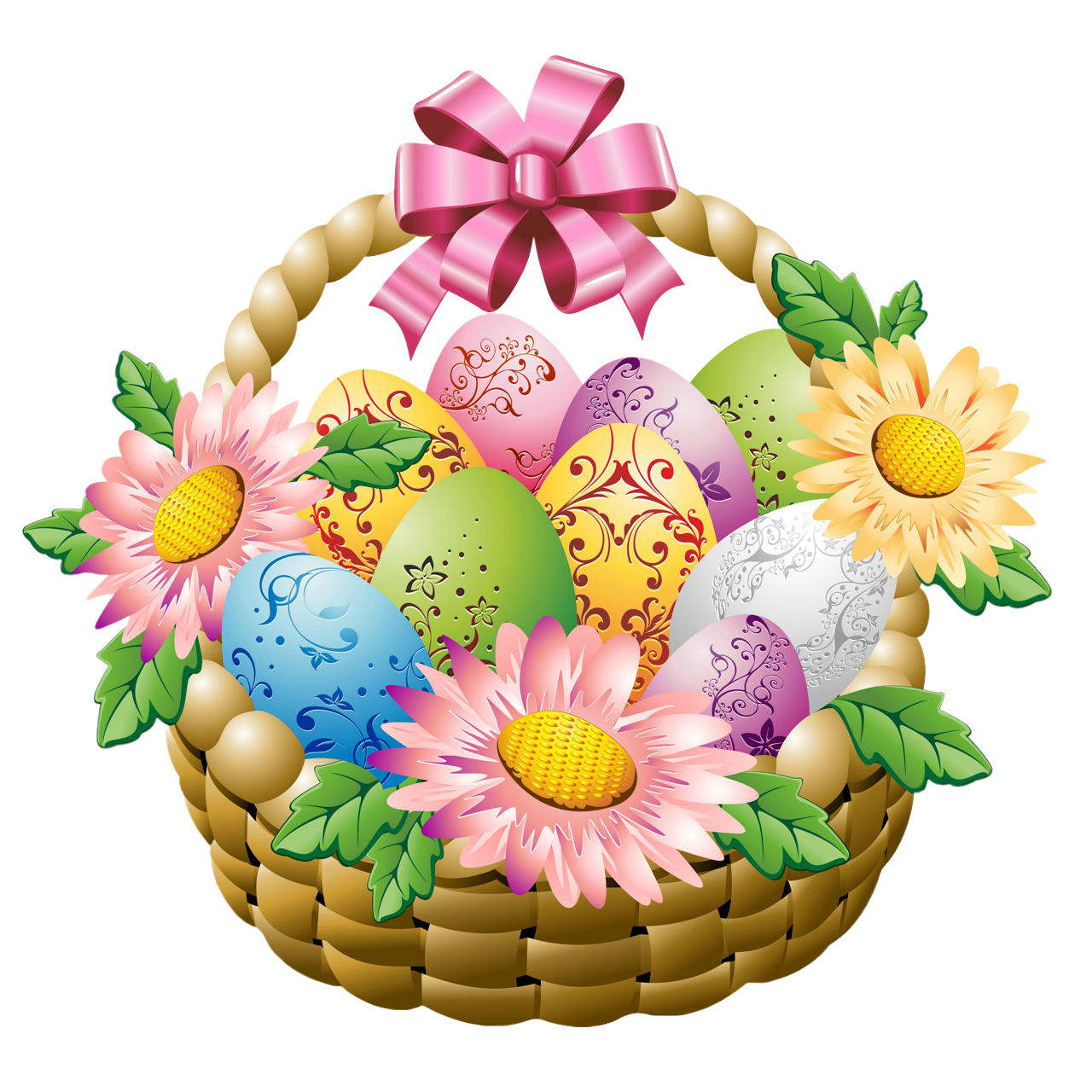 Easter flower clipart banner transparent download Easter Basket with Easter Eggs and Flowers PNG Picture banner transparent download