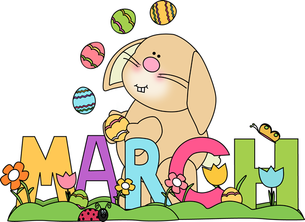 Easter clipart for facebook clip art royalty free Month of March Easter Bunny | Preschool Calendar Printables ... clip art royalty free