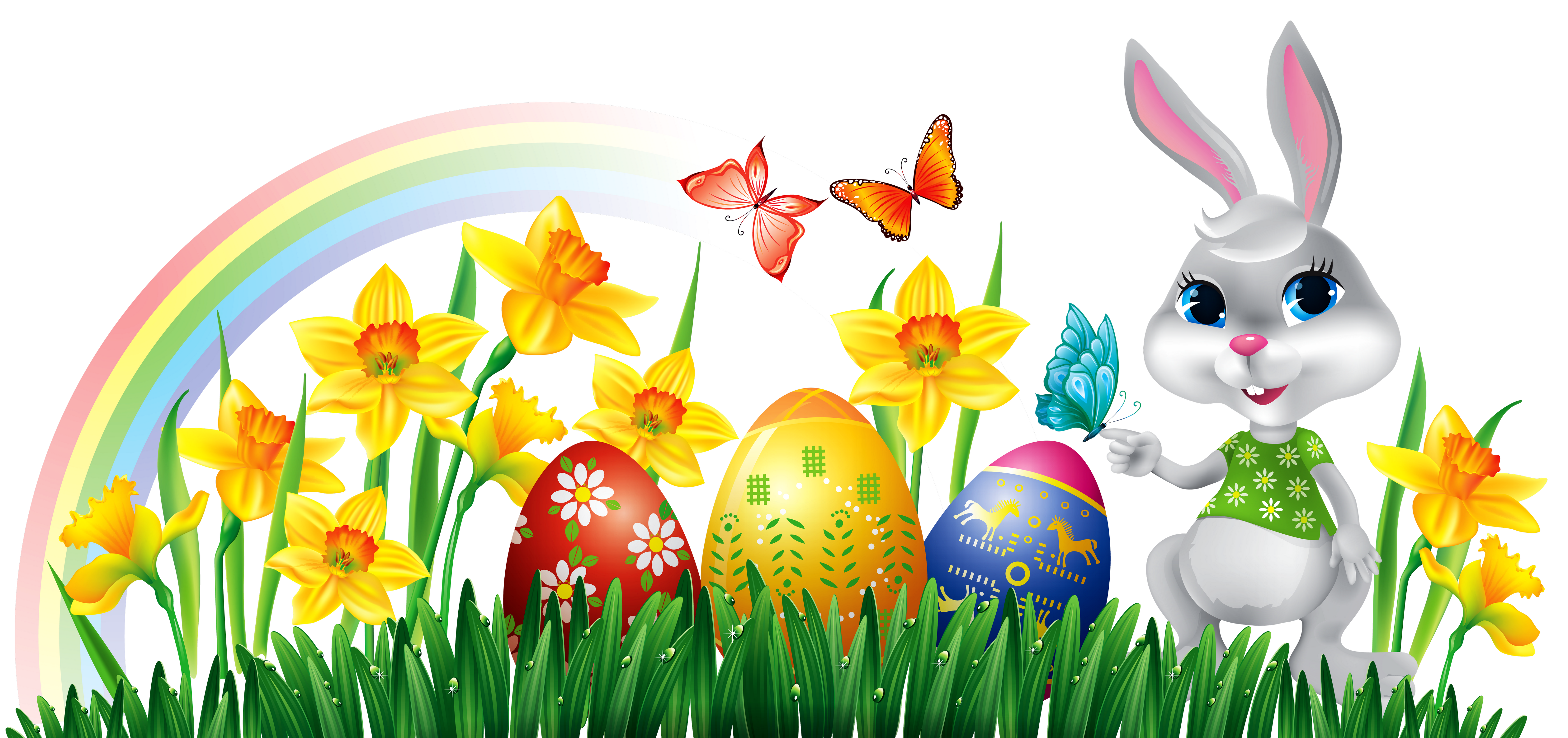 Easter clipart png jpg stock Easter Bunny with Daffodils Eggs and Grass Decor PNG Clipart Picture ... jpg stock