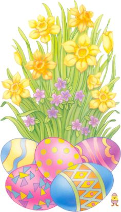 Easter clipart tall flower png picture library library Easter Yellow Egg with Flower Decoration PNG Clipart Picture ... picture library library
