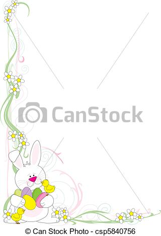 Easter corner clipart clipart black and white Clip Art Vector of Easter Corner - A frame or border featuring an ... clipart black and white
