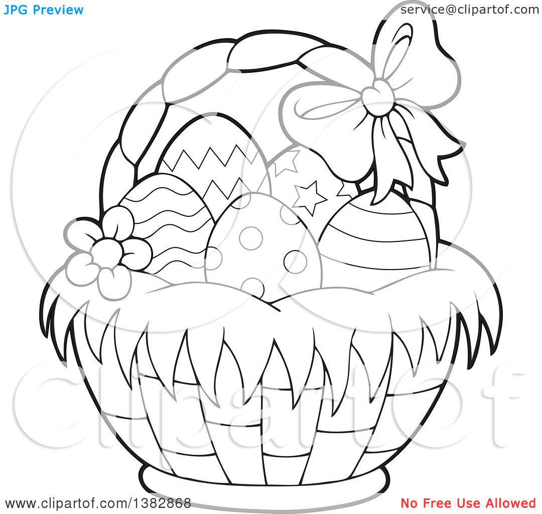 Easter egg basket black and white clipart graphic black and white download Clipart of a Black and White Lineart Basket of Easter Eggs ... graphic black and white download