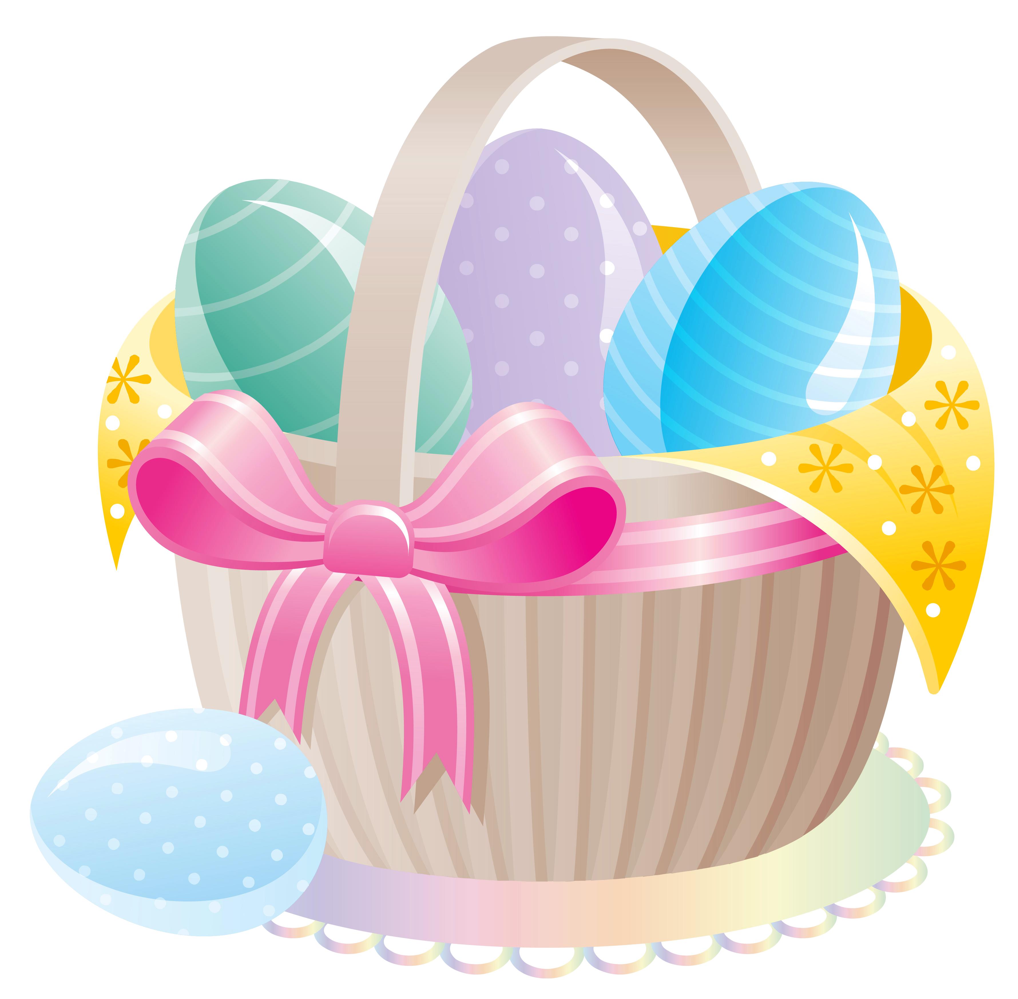 Easter egg basket clipart clip Delicate Basket with Easter Eggs PNG Clipart clip
