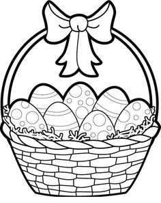 Easter egg basket black and white clipart - ClipartFest banner royalty free download