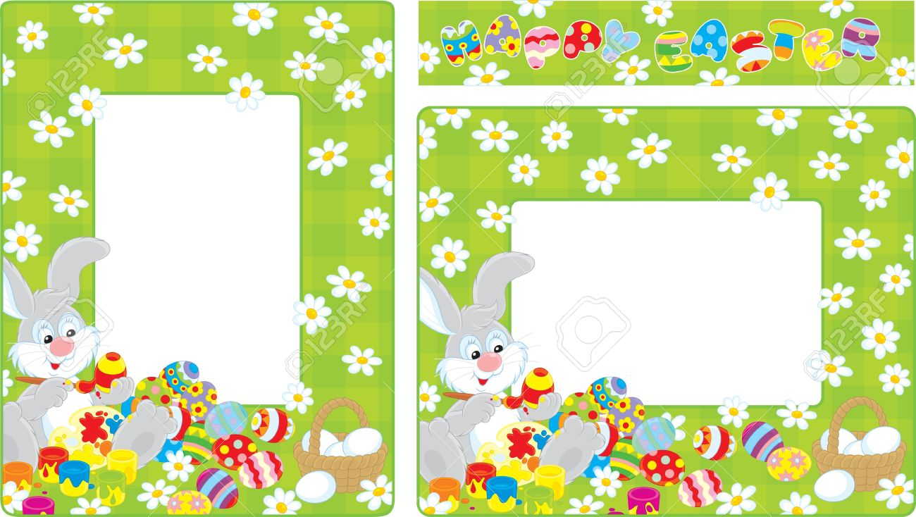 Easter egg border clipart to color clip art freeuse Easter Borders With Bunny Coloring Easter Eggs Royalty Free ... clip art freeuse