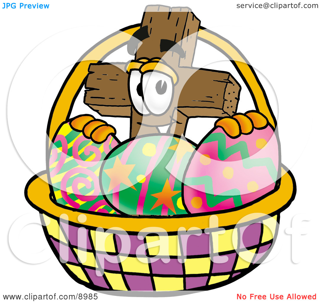 Easter egg cross clipart banner royalty free library Clipart Picture of a Wooden Cross Mascot Cartoon Character in an ... banner royalty free library