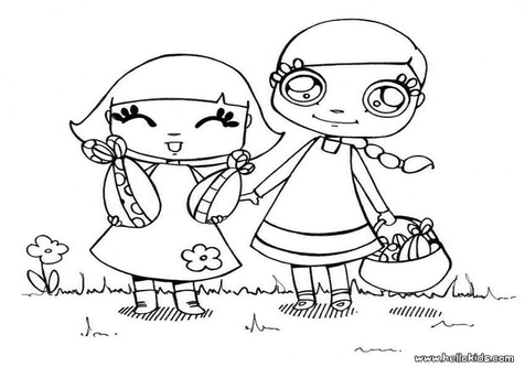 Easter egg hunt black and white clipart image stock Easter Hunt Coloring coloring page, coloring image, clipart images. image stock