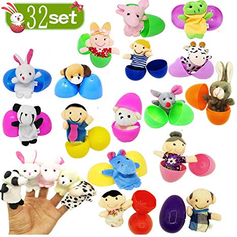 Easter egg hunt boy and girl clipart clipart royalty free stock Amazon.com: 32 Pack Easter Eggs with Plush Animals Hand Finger ... clipart royalty free stock
