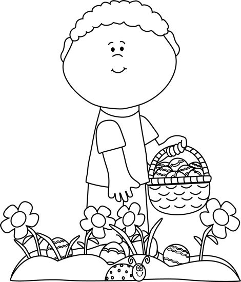 Easter egg hunt bw clipart svg black and white download Black and White Little Boy on an Easter Egg Hunt | Clip Art-Spring ... svg black and white download