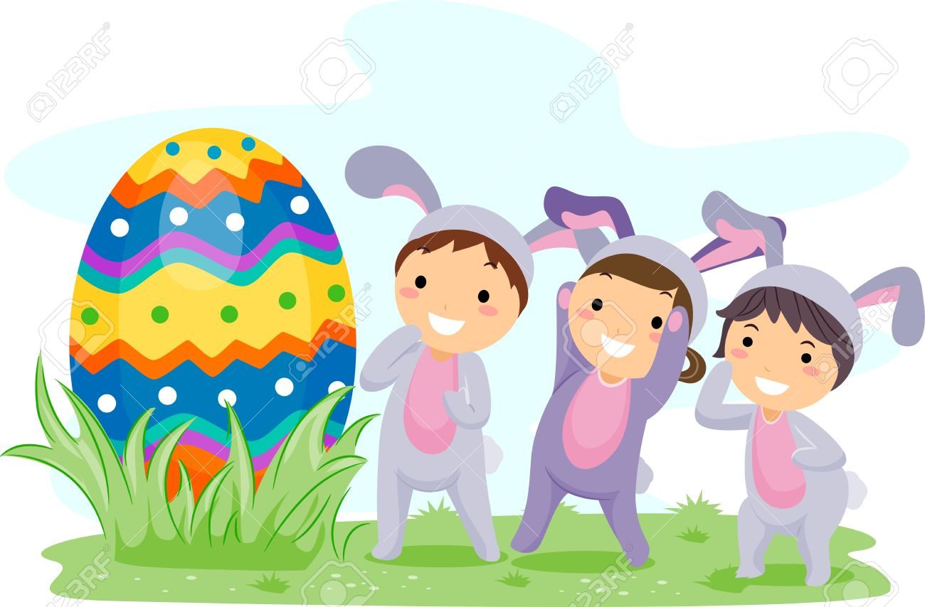 Easter egg hunt clipart jpg black and white Easter egg hunt kids clipart - ClipartFest jpg black and white